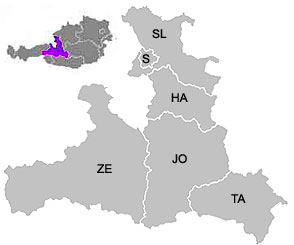 The districts (Bezirke) of Salzburg Province