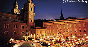 The traditional Salzburg Christmas Market in front of the Dom.