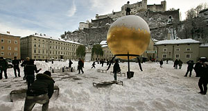 The Golden Sphere by Stephan Balkenhol is one project of the Salzburg Foundation.