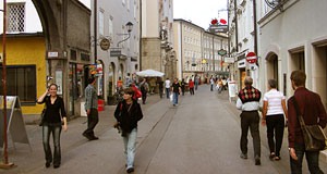 The Linzergasse is a busy shopping lane in the old town of Salzburg.