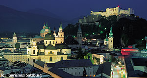 Salzburg at night: The Jewish history of the city includes some dark chapters.