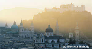 A panorama view of Salzburg in March