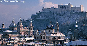 The mighty Salzburg Castle Hohensalzburg in winter.