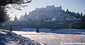 Salzburg is attractive at any time of the year - here you see it in winter.