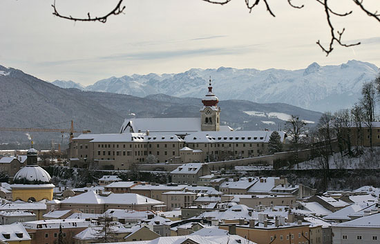Stift Nonnberg Abbey as seen in winter with the Alps in the background