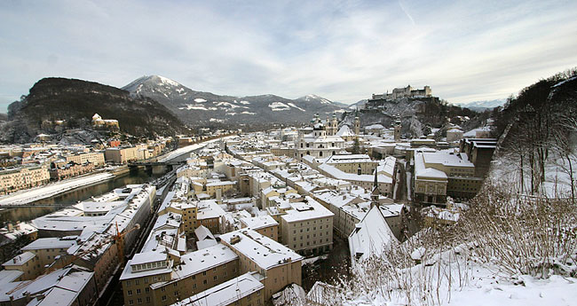 View on Salzburg's Old Town (Altstadt) on a winter day
