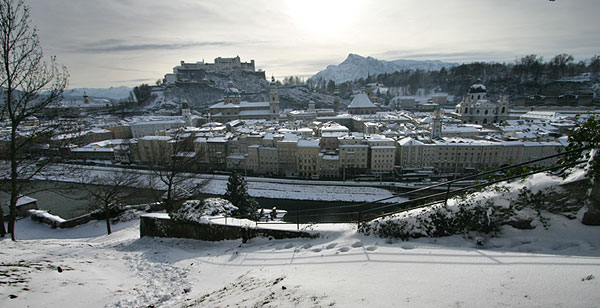 View on Salzburg's city centre with snow