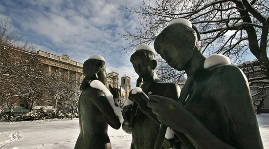 Statues at the Mirabell Park in winter