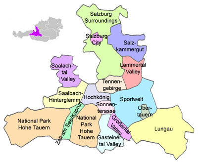 Salzburg State or Salzburg Province, divided into tourism areas